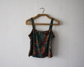 vintage 1980's handmade exotic jungle rainforest vibe patterned top
