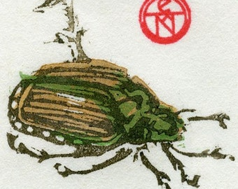Japanese Beetle - Limited Edition Woodblock Print