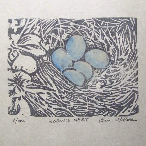 Robin's Nest - Original Linocut 4