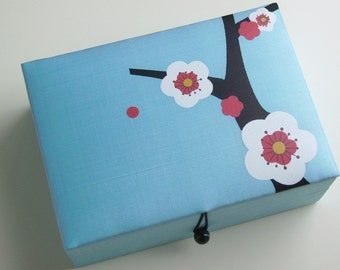 Light blue Cherry blossoms jewelry box, large
