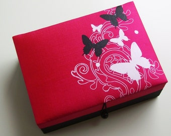 Pink butterflies jewelry box, large