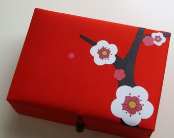 Red Cherry blossoms jewelry box, large