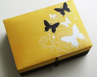 Yellow and black butterflies jewelry box, large