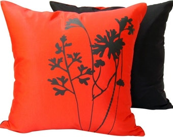 Red and black silk pillow cover SALE