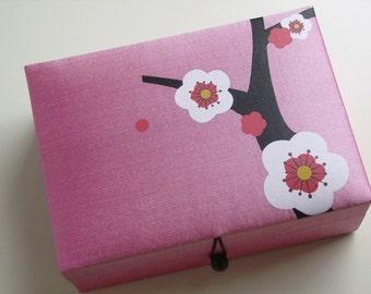 Light pink Cherry blossoms jewelry box, large