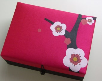 Pink Cherry blossoms jewelry box, large