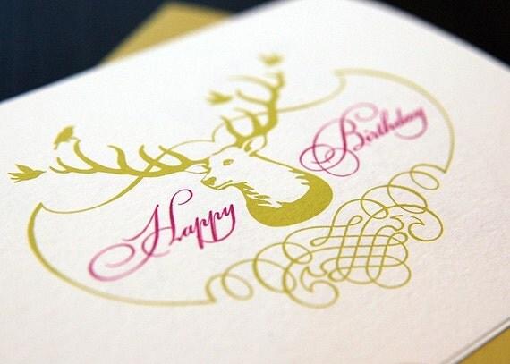 Set of 4 Happy Birthday Deer Folded Note Card Set