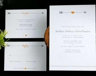 Heart and Arrow Wedding Invitation Set