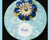 FREE SHIPPING-GIANT THREE INCH wood magnets -CUTE and COLORFUL-beautiful blue with a darling flower