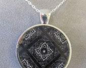 Ornamental Design Pendant, Black & White Resin Pendant