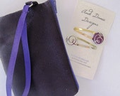 Wristlet, wallet, clutch, Purple suede-feel wristlet, Covered Button Barrettes, Gift Set