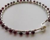 Garnet Wire-wrapped Silver Bracelet