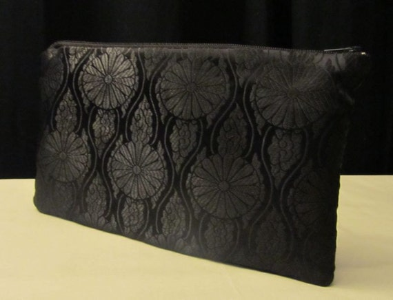 Make-up bag, cosmetic bag, clutch, Daisy print brocade make-up bag