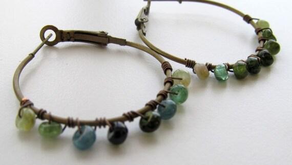 Green Tourmaline Wire Wrapped Earrings, Brass Hoop Earrings
