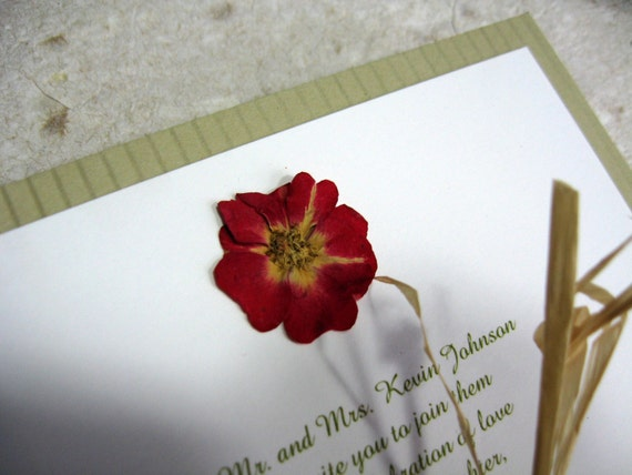Real pressed flower wedding invitations sample set for Wedding invitations with real flowers