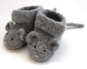 3-6 months\/Little Mouse Felted Merino Baby Ankle Booties