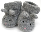 0-3 months\/Light Grey Little Bunny Felted Merino Baby Ankle Booties