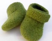 Grass Green Felted Merino Baby Ankle Booties