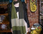 Cashmere scarf in a sea of greens - made from repurposed 100% cashmere sweaters