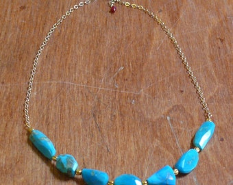 Sleeping Beauty Turquoise, 18k Gold Beads, 14k Gold Chain and Ruby Drop