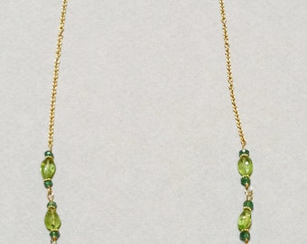 Emerald, Peridot and 18k Gold Necklace