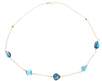 Adjustable length Topaz and gold necklace
