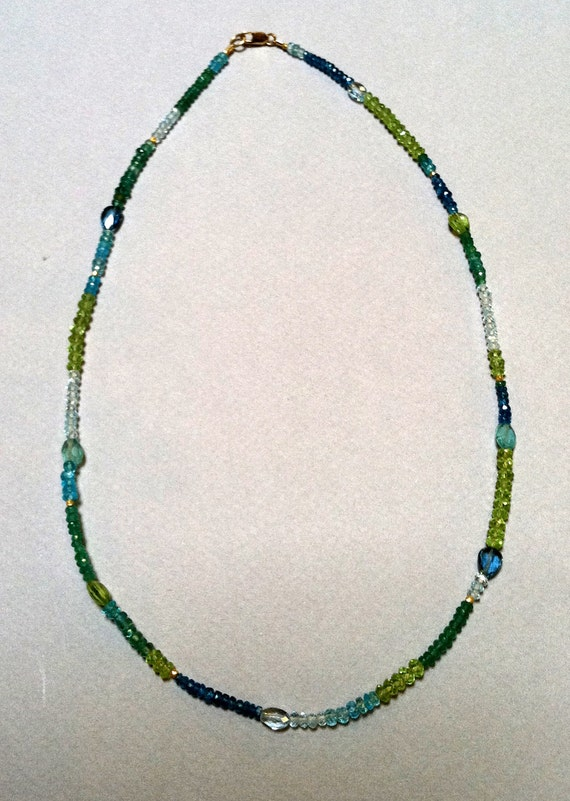 Sea of blue and green - Emerald and Topaz - necklace