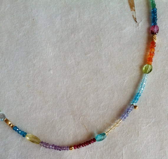 Candy Necklace - Sapphire, Topaz, Opal, Tanzanite, Amethyst, Citrine - mixed with fancy 18k gold beads