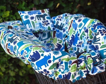 Shopping Cart Cover for Boy or Girl Baby Shower Birthday Gift Custom by Tinder Designs Boutique - Zoo Blue with minky pillow