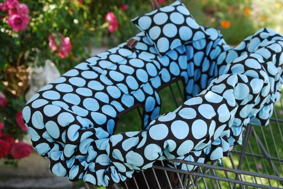Shopping Cart Cover - Custom Boutique Shopping Cart Cover for Boy or Girl  - DARK CHOCOLATE DOTS