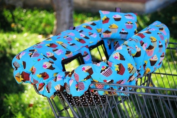 Shopping Cart Cover - Boutique Cart Cover -  Grocery Cart Cover - Turquoise Cupake