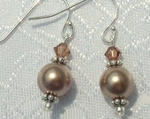 In The Mood Swarovski Light Smoked Topaz and Bronze Pearl Earrings
