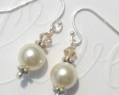 In The Mood Swarovski Cream Pearl and Golden Shadow Crystal Sterling Earrrings