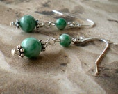 Palmetto Meadow  -Sweet-  China Tree Jade and Sterling Earrings