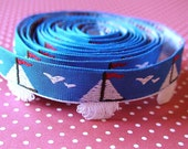 Blue Sail Boat Ribbon/sewing tape 1/2 inch width
