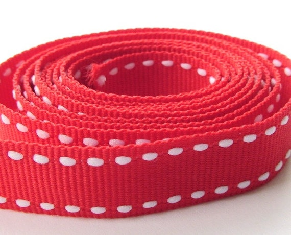 """Red grosgrain ribbon with white saddle stitches 1/2"""""""