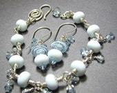 SALE Sterling silver bracelet and earrings set with lampwork beads and crystals - Changes 2: pastel blue, pinkish purple