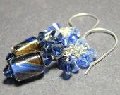 Sapphire blue dangle cluster earrings Artisan furnace beads Swarovski crystals  ROYAL  royal blue, sapphire blue