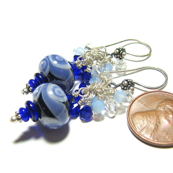 Reserved Pam Wall St. AntiquesCobalt blue Sterling silver dangle lampwork bead earrings Swarovski crystal cascades