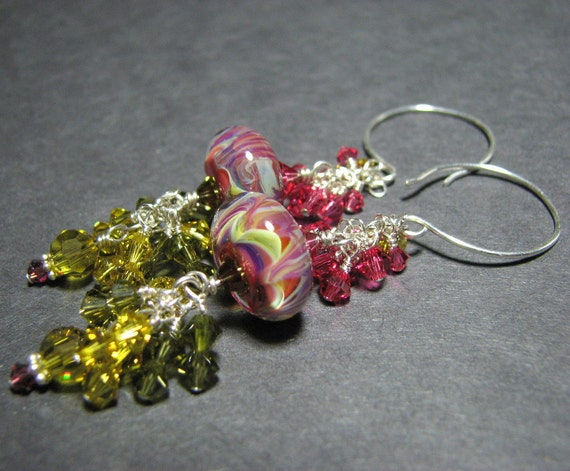 Long Rose pink lime green Silver dangle bead earrings  artisan boro lampwork  beads Swarovski crystals - Extrovert