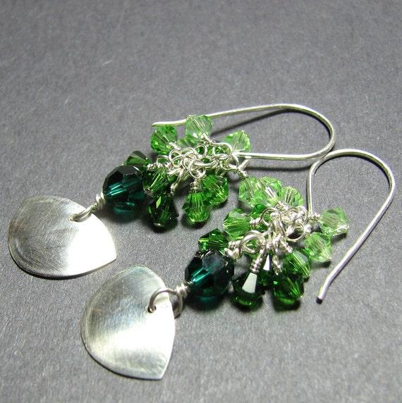 Long emerald green silver crystal dangle earrings, swarovski crystal clusters cascades,  handmade silver dangle charms - Grass