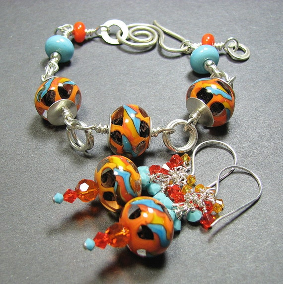 Sale Sterling silver bracelet and earrings set with lampwork beads and crystals - Hot Summer: orange, turquoise