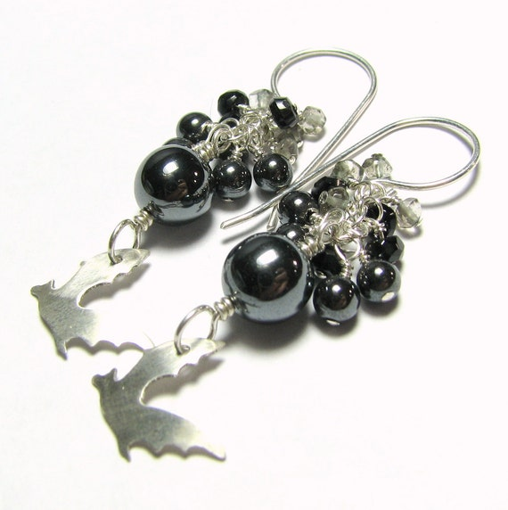 Sterling silver bat earrings, hematite, smoky quartz beads - Bats black, gray