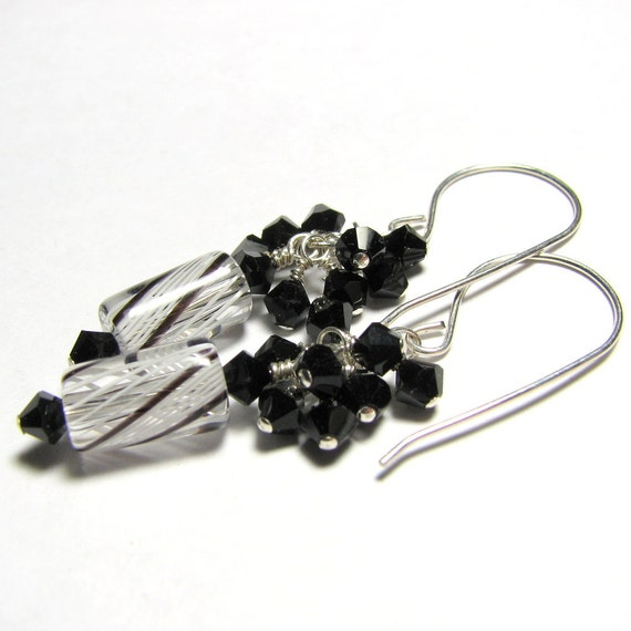 Furnace bead  sterling silver earrings with crystal cascades - Basic: black, white