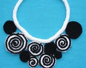 Black and white swirls necklace
