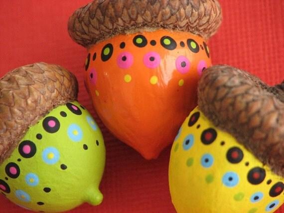 Funky Painted Acorns