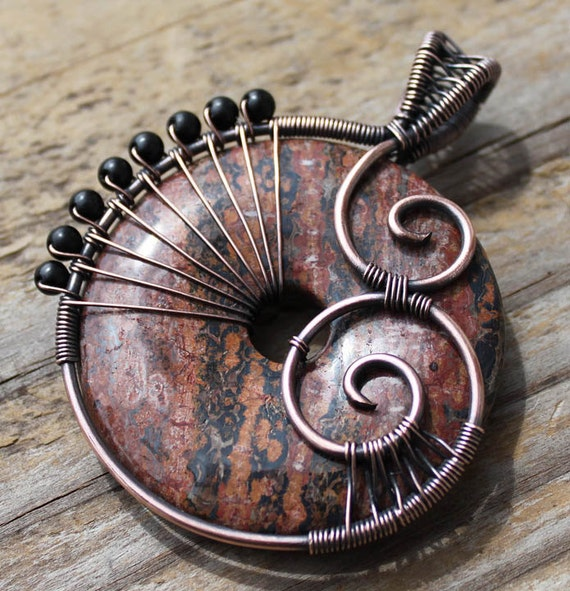 RESERVED - New Roots - Copper and Leopardskin Jasper Pendant