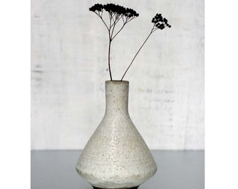MADE TO ORDER- Medium crater white stoneware pottery vase by sarapaloma . rustic modern mid century bud vase weed pot white ceramics vases