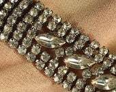 REVERSE AUCTION ITEM - Vintage Rhinestone Bracelet - Mad Men Glam Style - Signed by Albert Weiss - 1940-50s era
