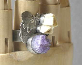 Two And Three Eights Mountain Range Ring Made With Amethyst And Deer Tooth